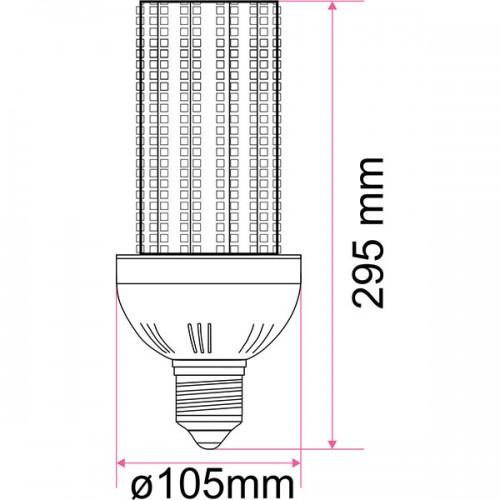 Wymiary żarówki przemysłowej CSN 80W 40/40