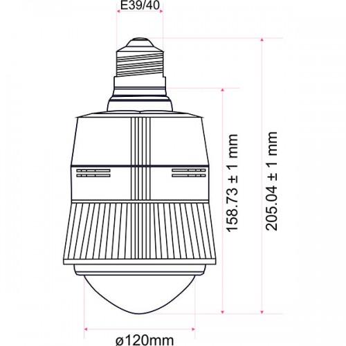 Wymiary żarówki przemysłowej LED 75W 120