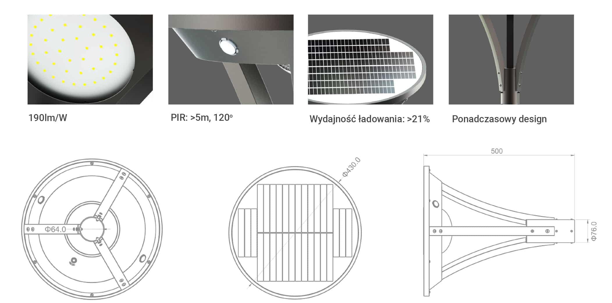 solarna latarnia uliczna 15W